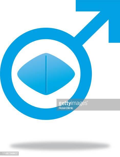 male symbol impotence tablet - viagra stock illustrations
