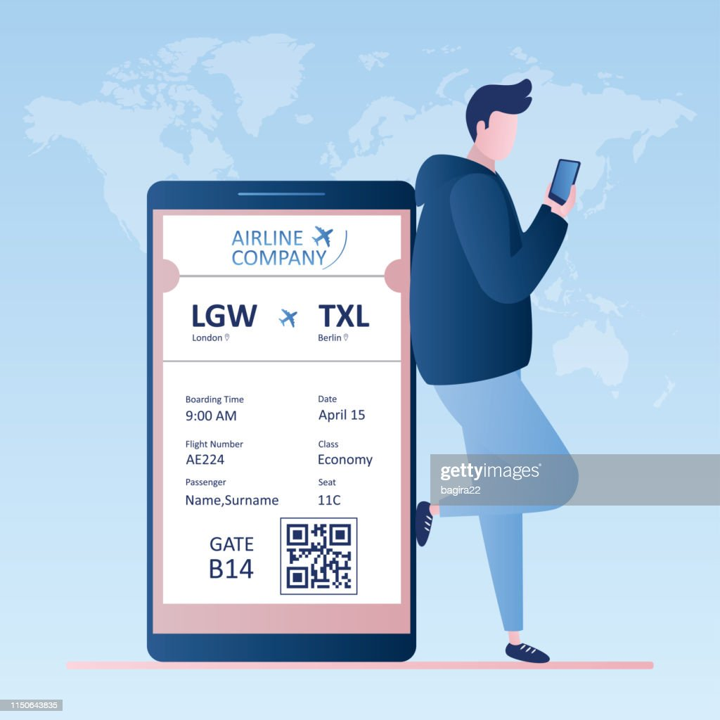 Male traveller with smartphone,online check-in,Airline boarding pass ticket with barcode code
