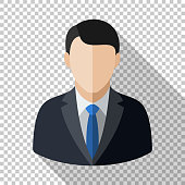 Male user icon in flat style with long shadow on transparent background