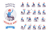 Male young wheelchair user character set, various poses