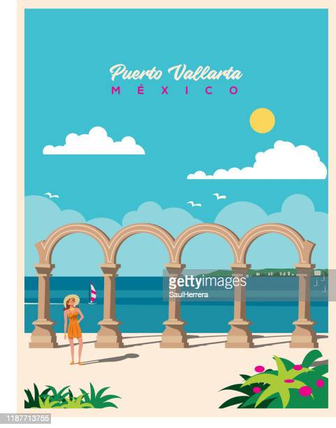 malecon arches of puerto vallarta méxico - nevada stock illustrations