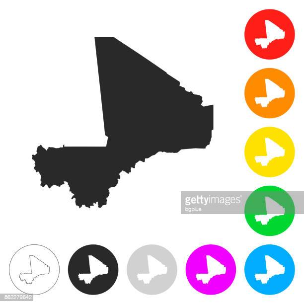 mali map - flat icons on different color buttons - mali stock illustrations, clip art, cartoons, & icons