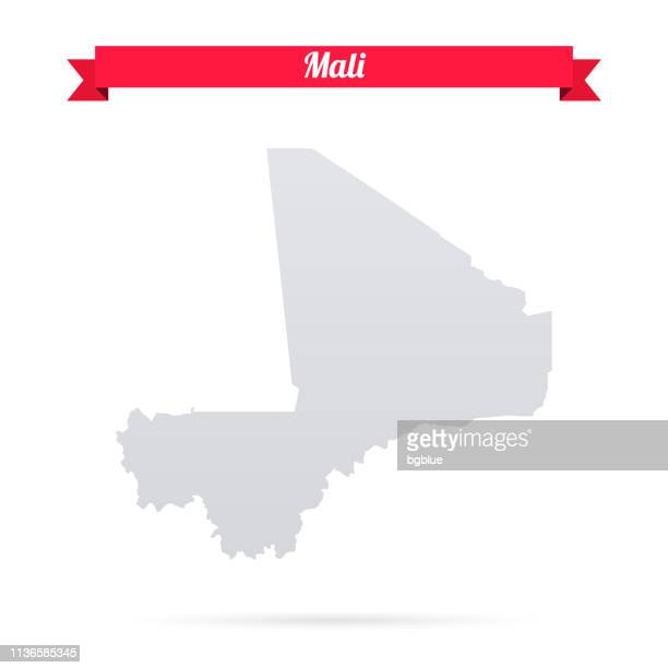 mali map on white background with red banner - mali stock illustrations, clip art, cartoons, & icons