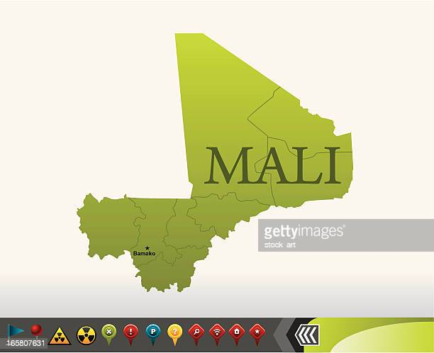 mali map with navigation icons - mali stock illustrations, clip art, cartoons, & icons