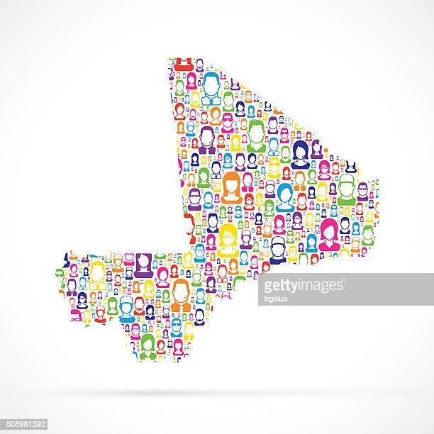 mali map with people - mali stock illustrations, clip art, cartoons, & icons