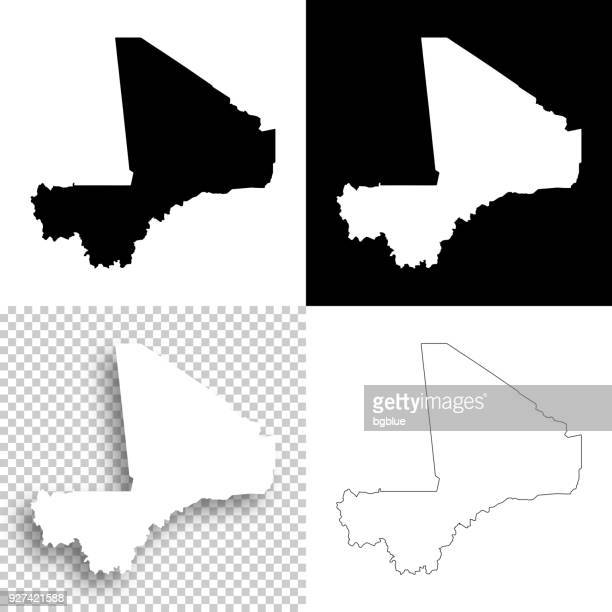 mali maps for design - blank, white and black backgrounds - mali stock illustrations, clip art, cartoons, & icons