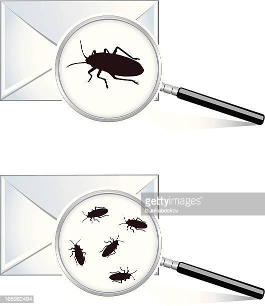 ilustraciones, imágenes clip art, dibujos animados e iconos de stock de malintencionado correo electrónico - cucarachas