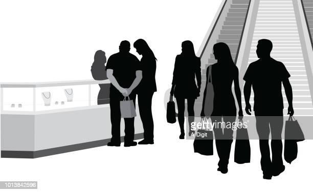 mall entrance kiosk display - retail display stock illustrations
