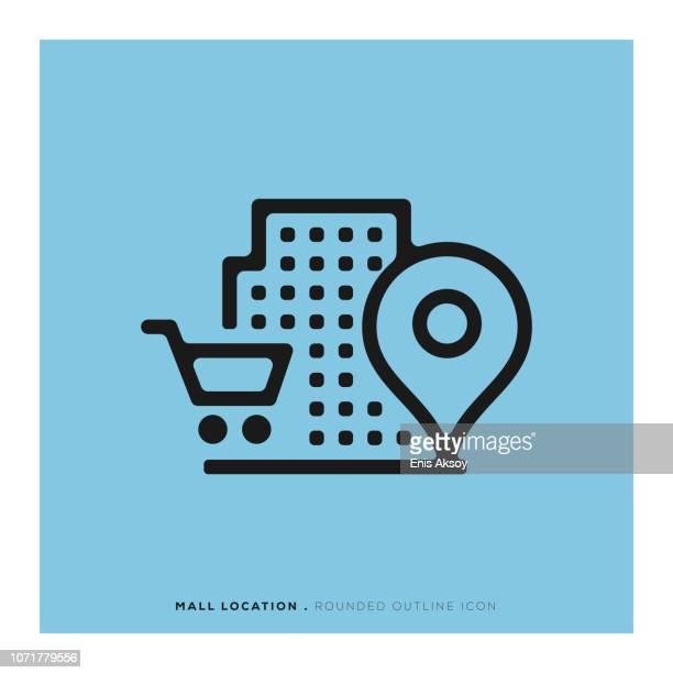 mall location rounded line icon - shopping mall stock illustrations