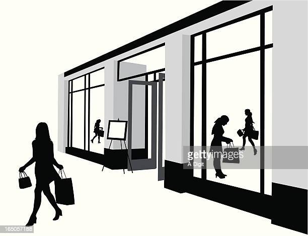 Mall Shopping Vector Silhouette