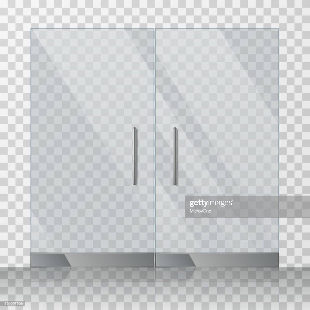 Mall, store glass doors vector illustration