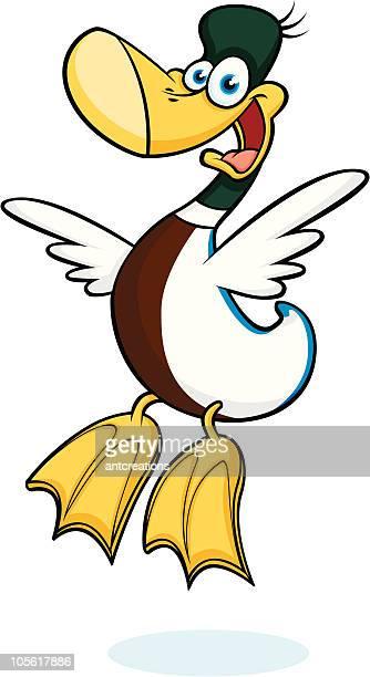 mallard duck jumping for joy - webbed foot stock illustrations, clip art, cartoons, & icons