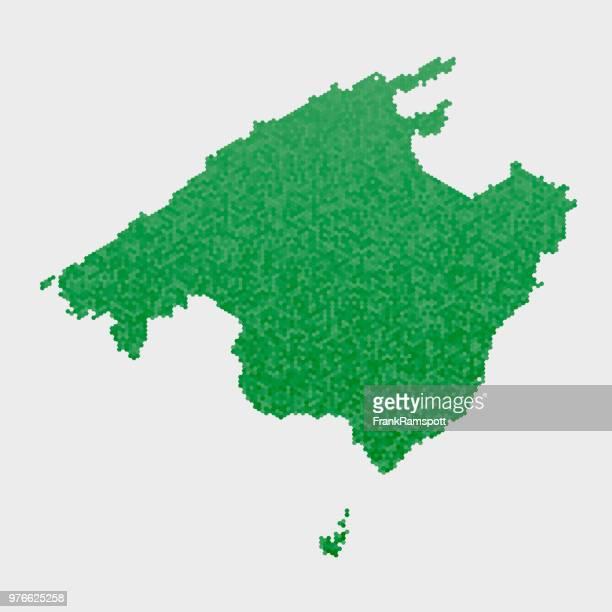 Mallorca-Land-Map-grünen Sechseck-Muster