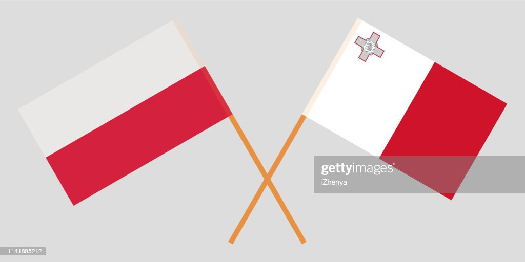 Malta and Poland. The Maltese and Polish flags. Official colors. Correct proportion. Vector