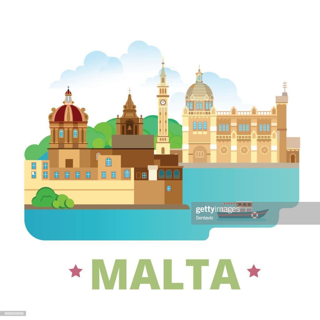 Malta country design template. Flat cartoon style historic sight showplace web site vector illustration. World vacation travel sightseeing Europe European collection. Blessed Virgin of Ta Pinu Mdina.