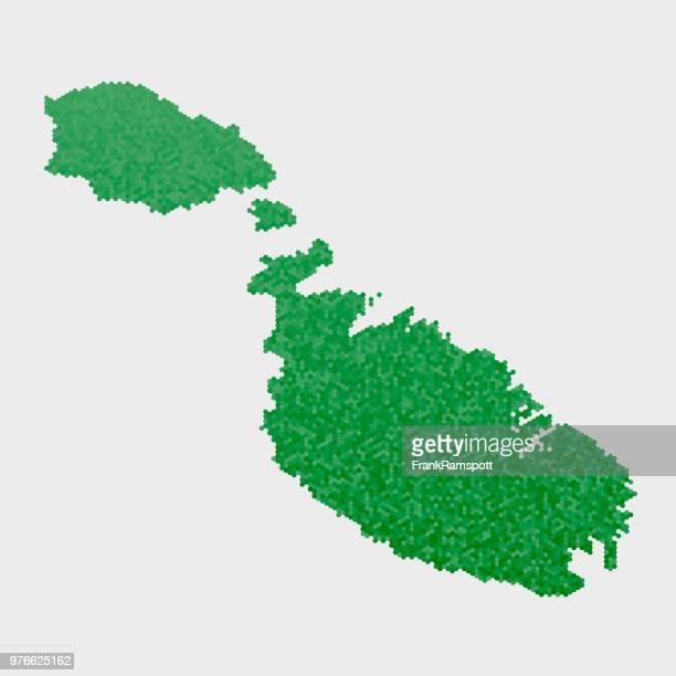 Malta-Land-Map-grünen Sechseck-Muster