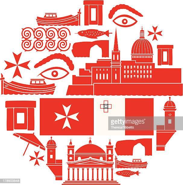 malta icon set - malta stock illustrations