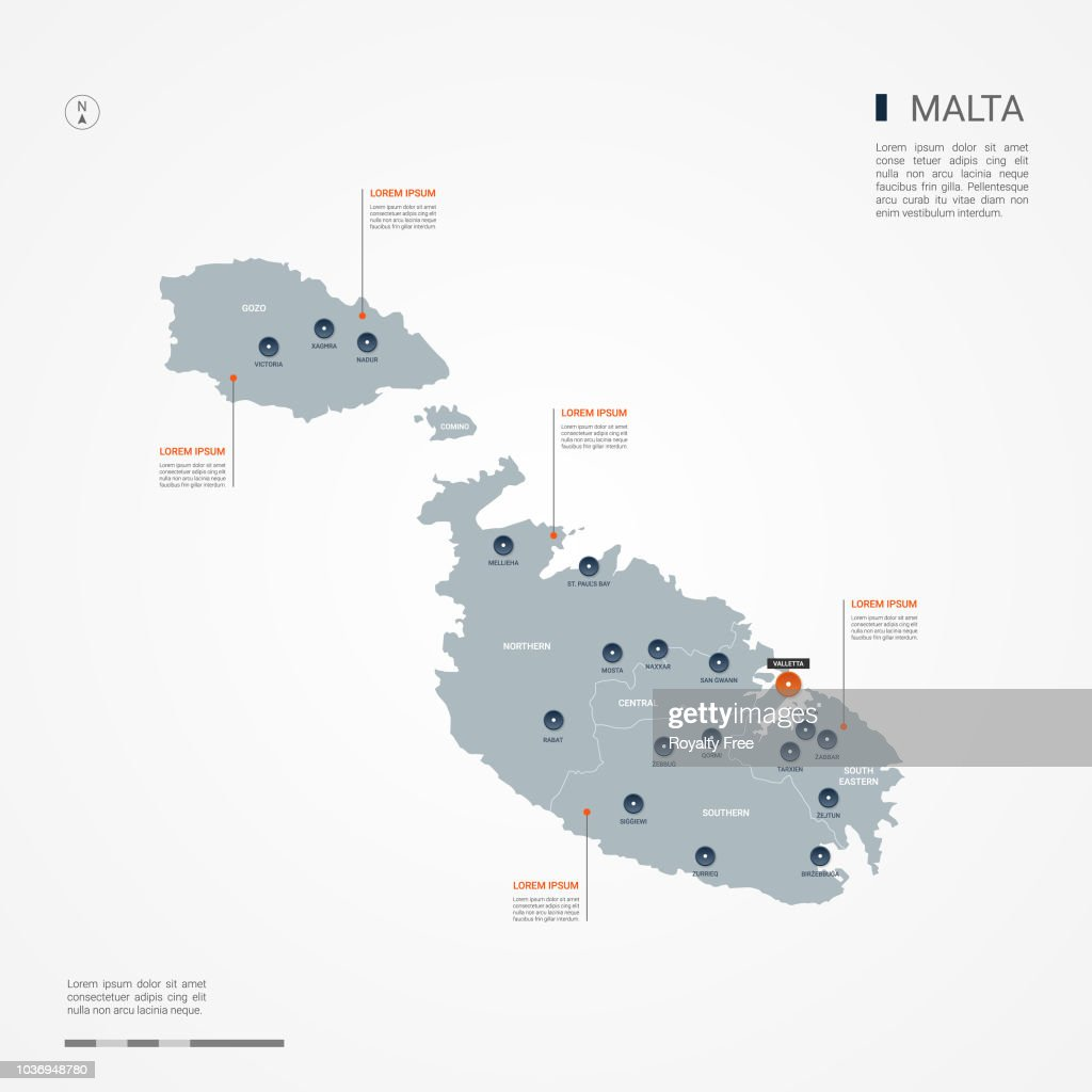 Malta infographic map vector illustration.