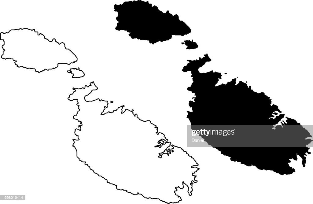 Malta island map vector,