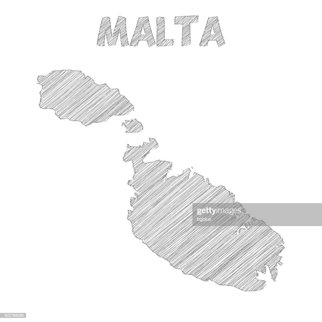 Malta map hand drawn on white background