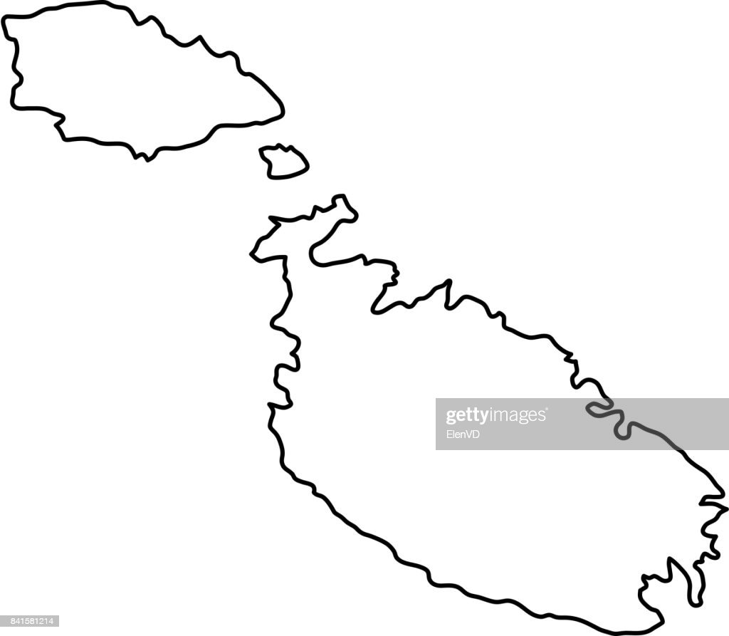 Malta map of black contour curves of vector illustration