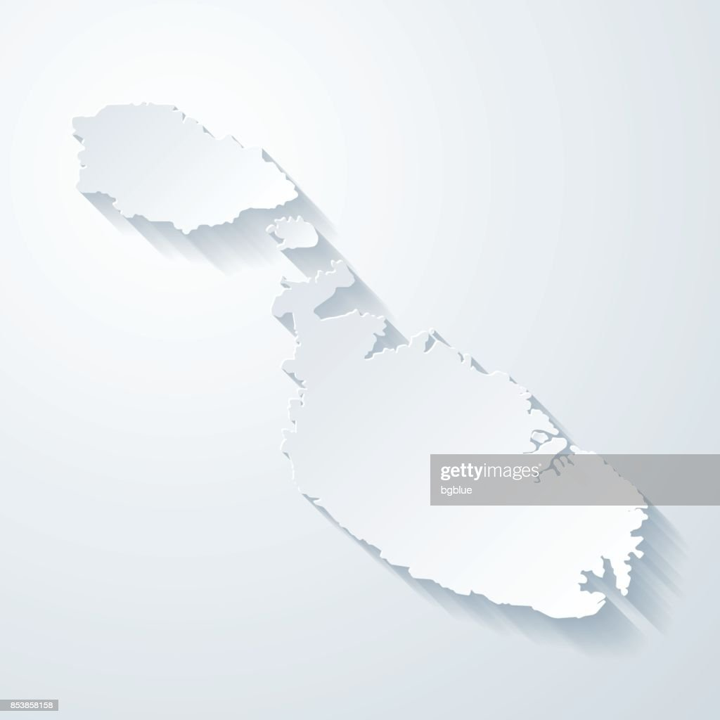 Malta map with paper cut effect on blank background