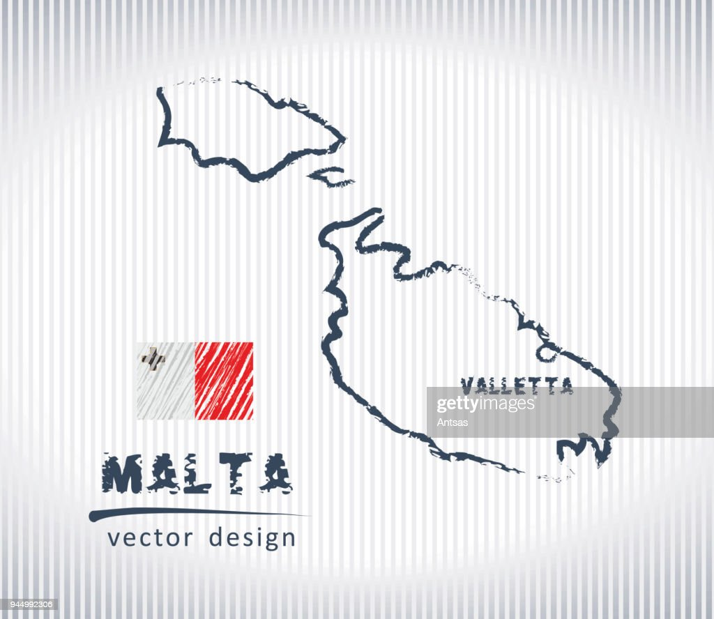 Malta national vector drawing map on white background