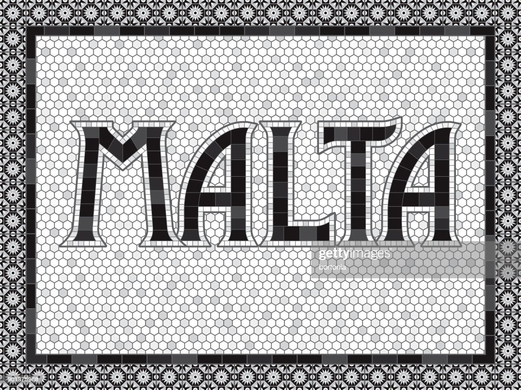 Malta Old Fashioned Mosaic Tile Typography