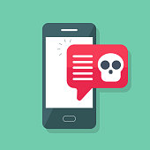Malware notification on smartphone. Mobile phone with skull bones bubble speech red alert, concept of spam data, fraud internet error message, insecure connection,virus, online scam. Flat vector