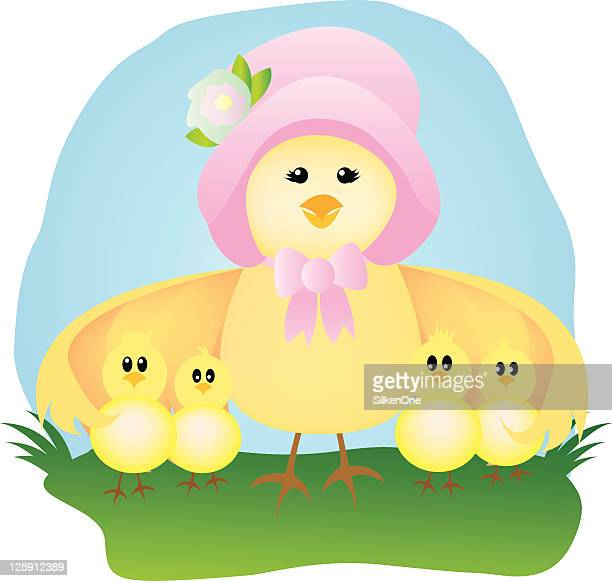 mama and her baby chicks - easter bonnet stock illustrations