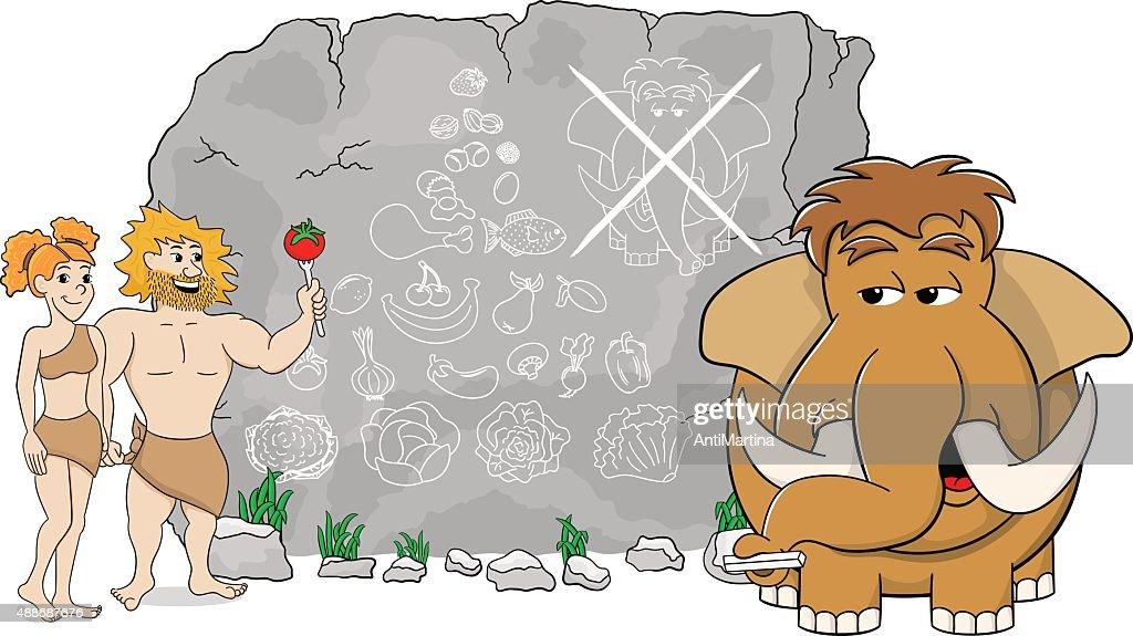 mammoth explains paleo diet using a food pyramid