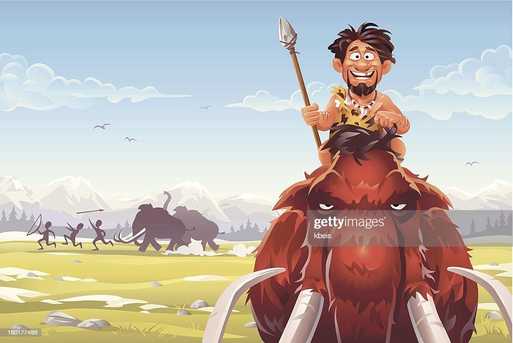 Mammoth cazadores : Ilustración de stock