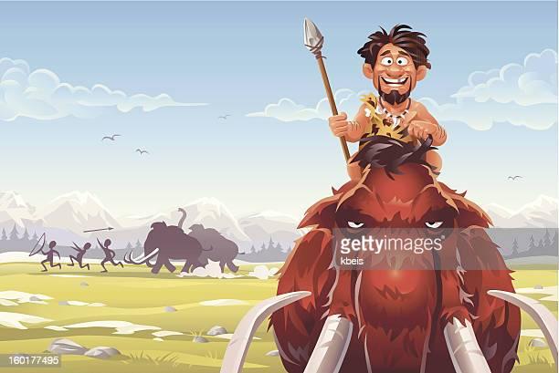 ilustrações, clipart, desenhos animados e ícones de mammoth caçadores - era prehistórica