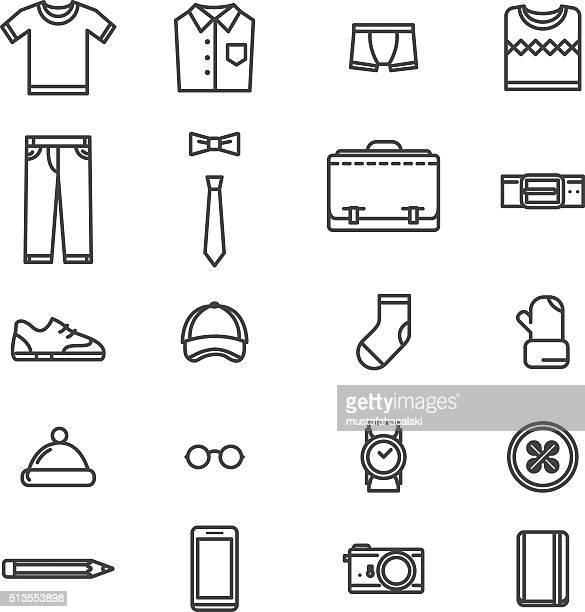man accessories simple lineart icons - traditional clothing stock illustrations