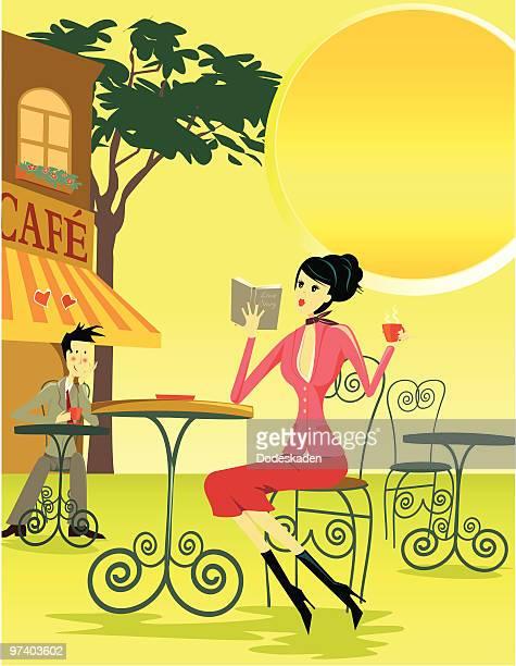 ilustraciones, imágenes clip art, dibujos animados e iconos de stock de hombre disfrutas de la mujer en las tablas en café - carta de amor