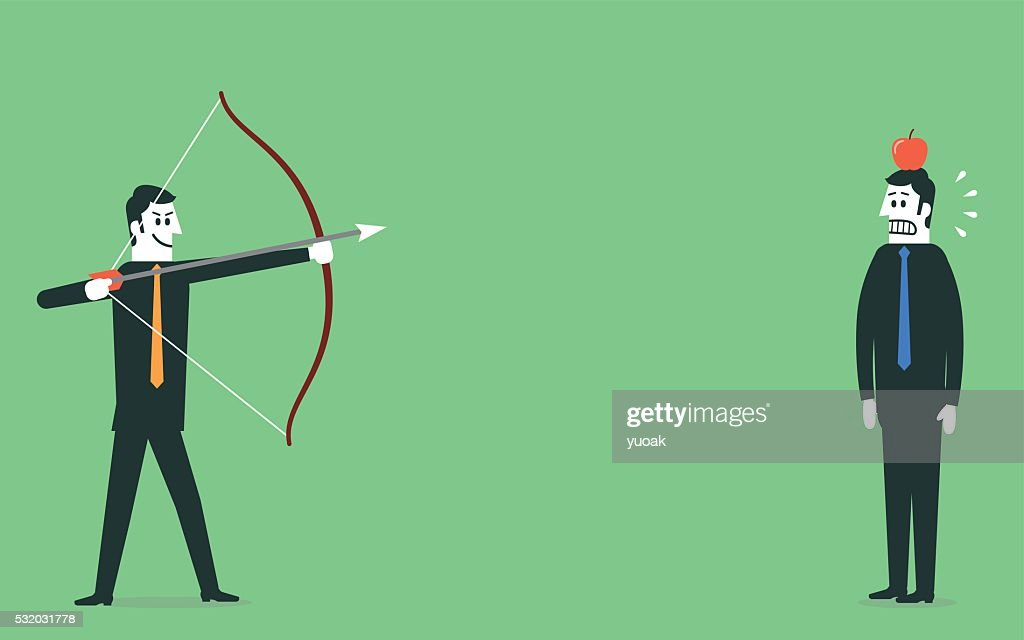 Man aiming arrow at apple on mans head