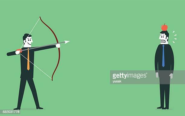 Homme chercher flèche sur pomme sur Mans tête