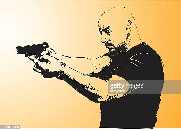 man aiming with gun - special forces stock illustrations, clip art, cartoons, & icons
