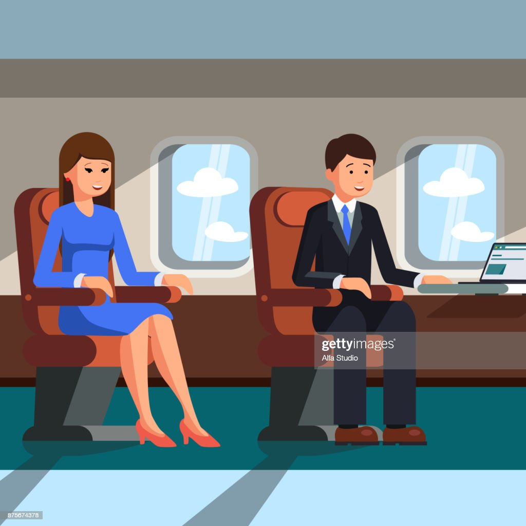 A man and a woman are sitting in the cabin of the plane. Vector illustration.