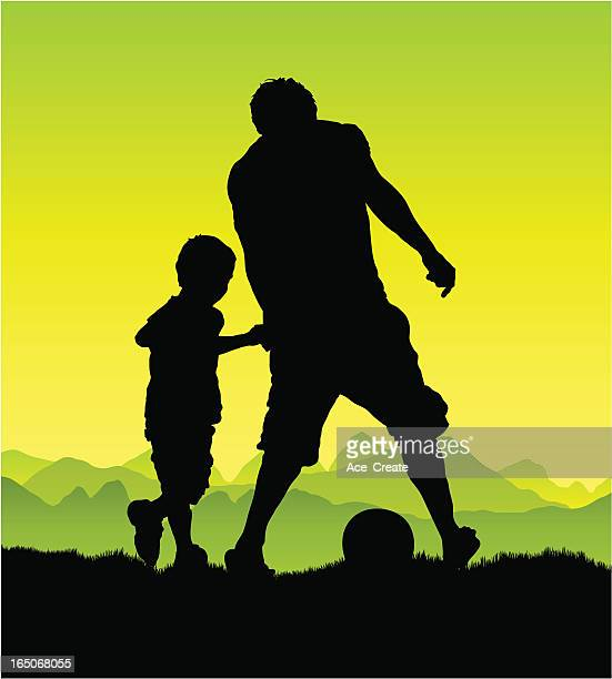Man and boy playing