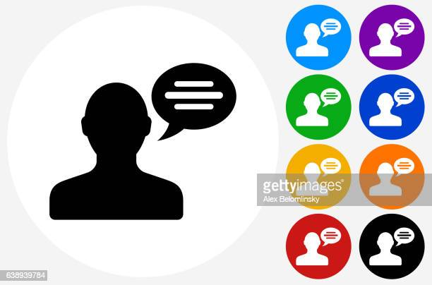man and chat bubble icon on flat color circle buttons - {{relatedsearchurl('racing')}} stock illustrations, clip art, cartoons, & icons