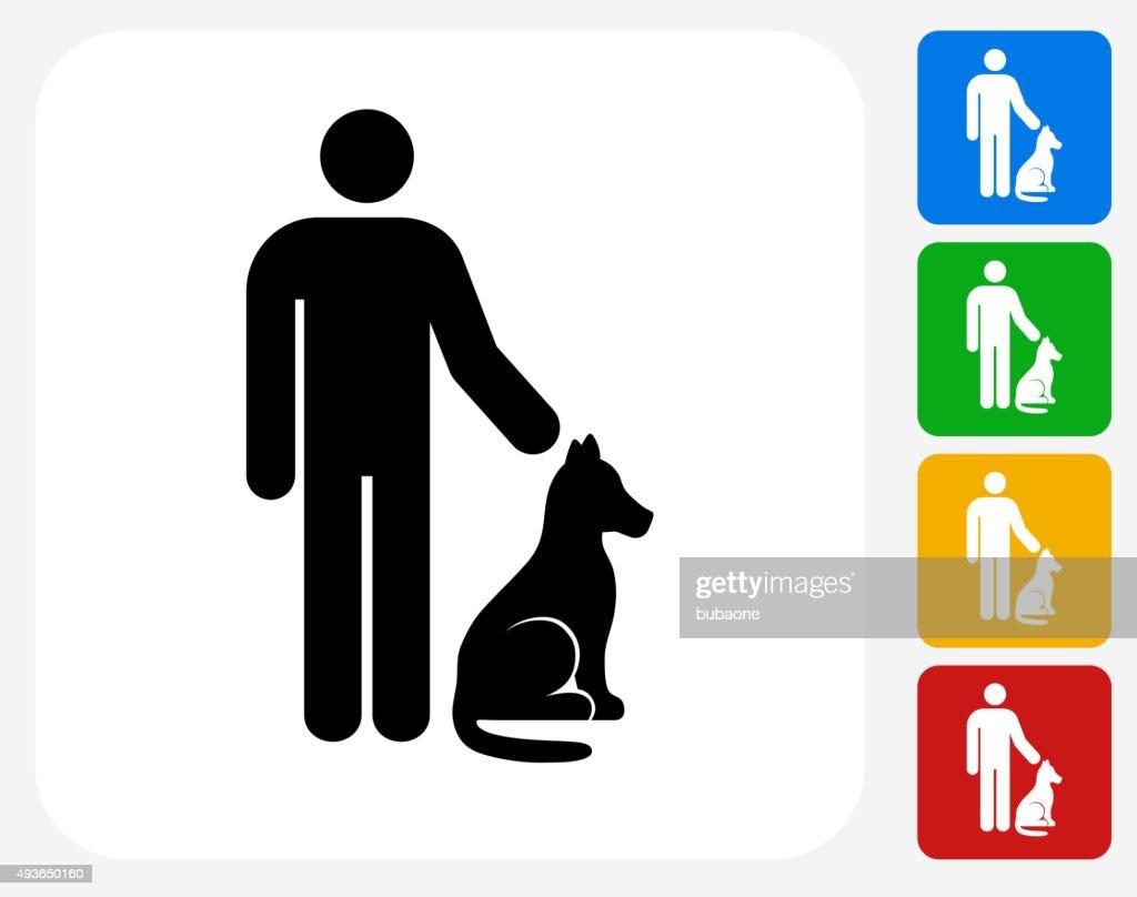 Man and Dog Icon Flat Graphic Design