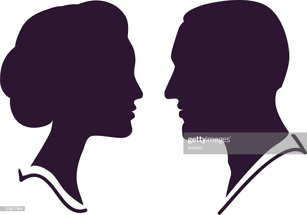 man and female vector silhouette