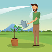 Man and garden cartoon