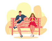 Man and girl sitting on a bench. Guy uses mobile phone. Woman listening music. Park bench Vector Illustration