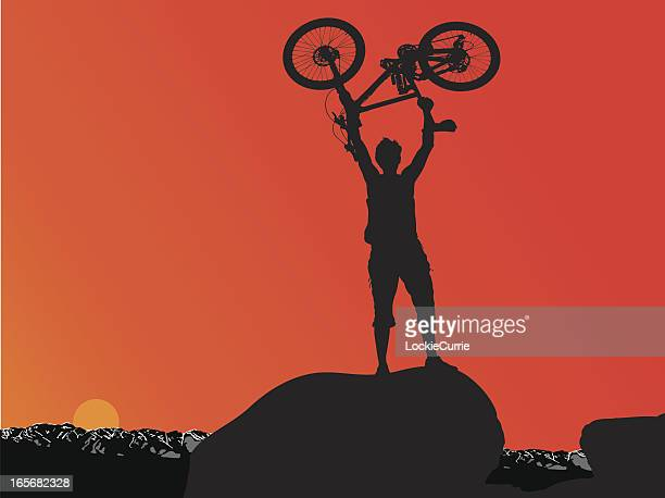 man and his bike - glühend stock illustrations
