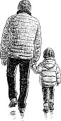 A man and his child go on a walk