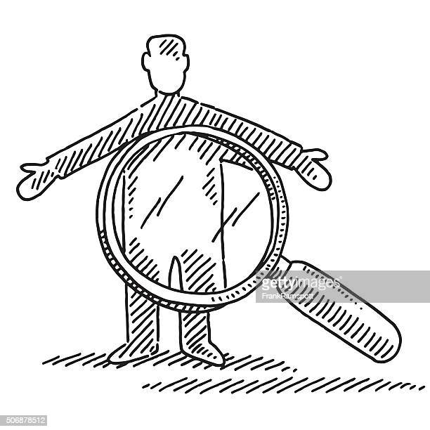 Man And Loupe Symbol For Security Check Drawing