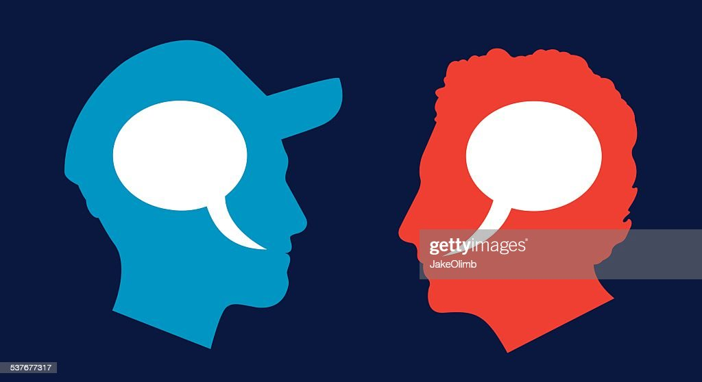 Man and Man Profile Speech Bubbles