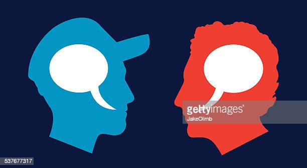 man and man profile speech bubbles - political rally stock illustrations, clip art, cartoons, & icons